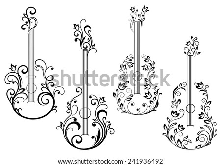 Abstract acoustic guitar icons with floral ornament in the form of guitar body - stock vector