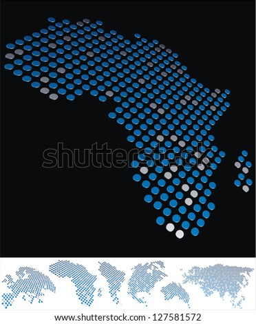 abstract Africa map from on array of blue and gray metallic points, on black background with maps of the continents on the white bottom line - stock vector