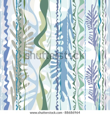 Abstract algae seamless pattern, vector, background. - stock vector