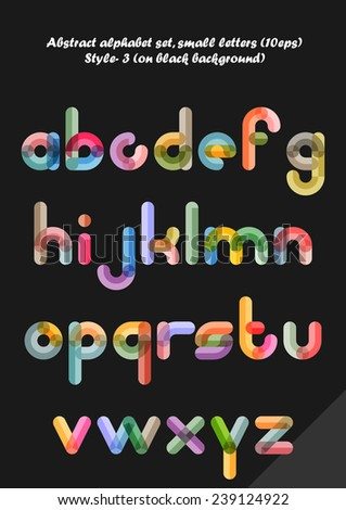 Abstract alphabet ( style 3 ), small letters ( 10eps ) - stock vector