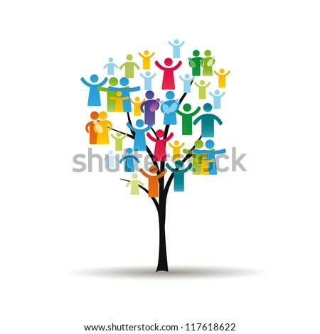Abstract and colorful figures showing happy peoples and tree