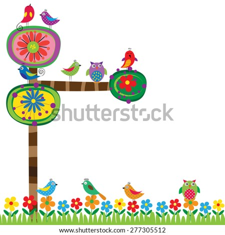 Abstract and colorful summer tree and birds - stock vector
