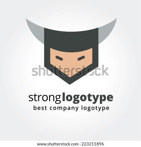 Abstract angry viking face logo icon concept isolated on white background. Vector logo template. Sport logo, team logo, soccer, man silhouette, face or head, triathlon, power, gym fitness. - stock vector