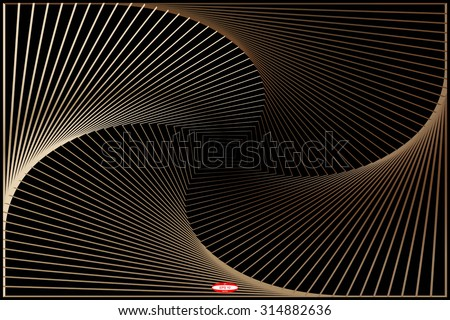abstract angular dark bronze pattern with curve rust texture with cream stairs with burnt line on black background. vector illustration - stock vector