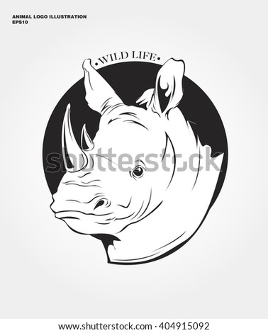 abstract animal logo. Hipster wild animal print for for T-shirts and other apparel. Icon Difference - Rhinoceros
