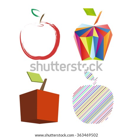 Abstract apple set. Vector Illustration - stock vector