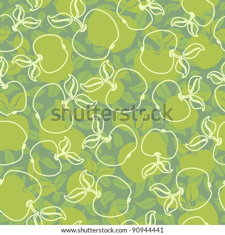 abstract apples with leaves seamless background - stock vector
