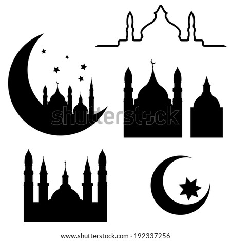 Abstract arabic elements isolated on white background, vector illustration - stock vector