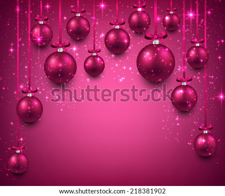 Abstract arc background with magenta christmas balls. Vector illustration.