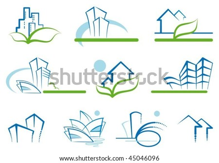 Abstract architecture icon set - stock vector