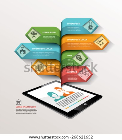 Abstract arrow info graphics element. Vector illustration. can be used for workflow layout, diagram, number options, step up options, web design. - stock vector