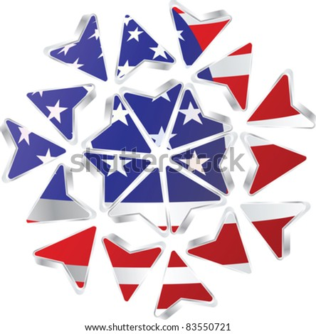 abstract arrows design with american flag - stock vector
