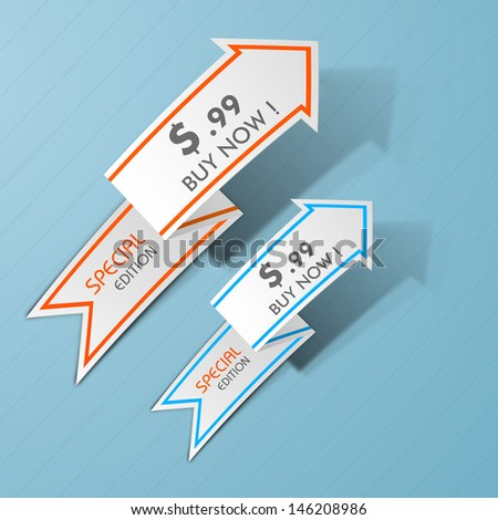 Abstract arrows with prize tags. - stock vector
