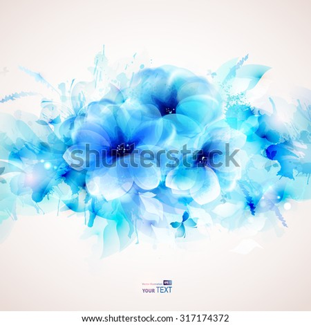 Abstract art background with blue flower and design elements - stock vector