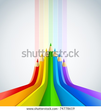 abstract art background with line of colour pencil as rainbow vector illustration - stock vector
