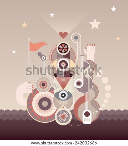 Abstract art composition of music instruments and abstract shapes. Vector illustration. - stock vector