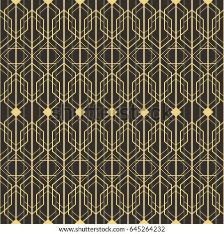 Abstract Art Deco Seamless Monochrome Background. Vector Modern Tiles  Pattern.