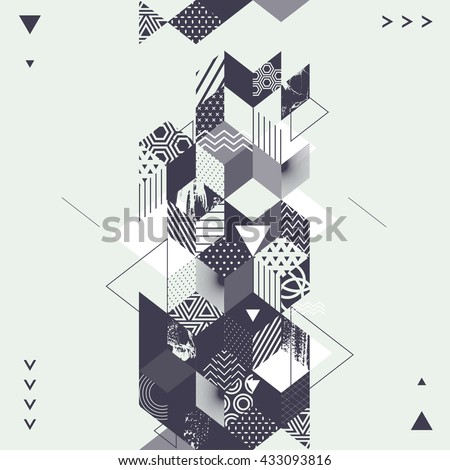 Abstract art geometric background - stock vector