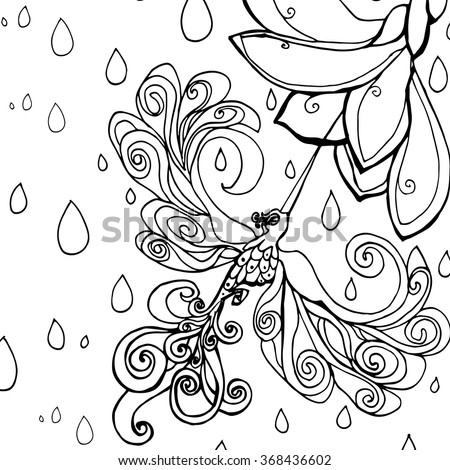 abstract art humming bird coloring page pollination of frangipani exotic flower in tropical rain forest