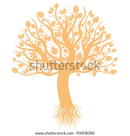 Abstract art tree isolated on white background