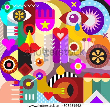 Abstract art vector background. Decorative collage of various objects and shapes. - stock vector