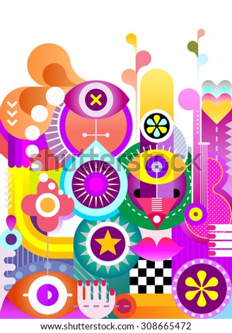 Abstract art vector background. Decorative vibrant color collage of various objects and shapes. - stock vector
