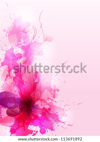 Abstract artistic Background with floral element and pink blots.