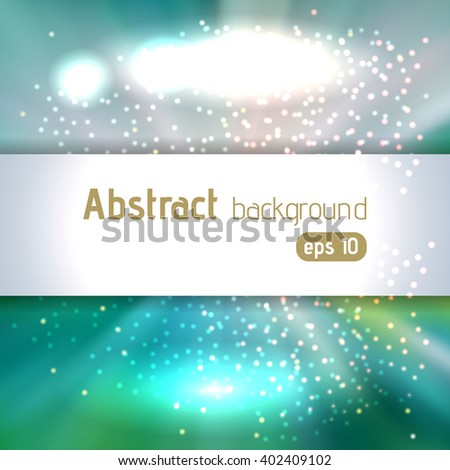 Abstract artistic background with place for text. Color rays of light. Original sparkle design. White, blue, green colors.  - stock vector