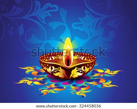 abstract artistic blue diwali background vector illustration - stock vector