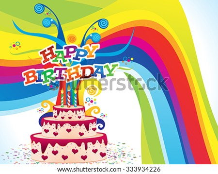abstract artistic colorful birthday background vector illustration - stock vector