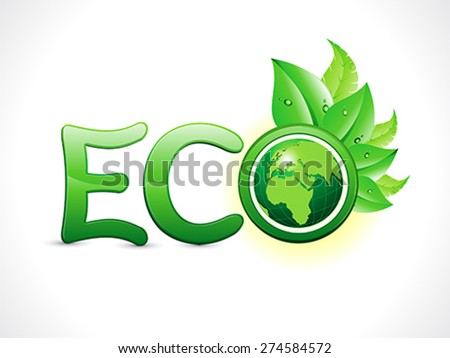 abstract artistic eco text vector illustration - stock vector