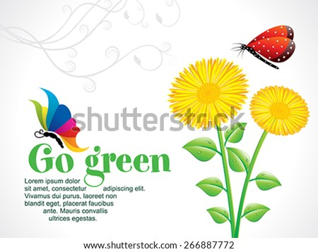 abstract artistic go green background with flower vector illustration - stock vector