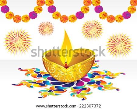 abstract artistic golden diwali background on colorful rangoli vector illustration - stock vector
