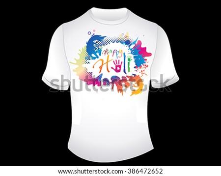 abstract artistic happy holi tshirt vector illustration - stock vector