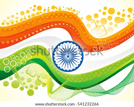 abstract artistic indian flag wave vector illustration