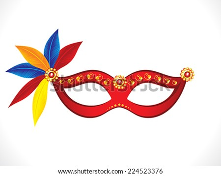 abstract artistic red mask with colorful feathers vector illustration - stock vector