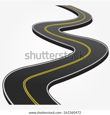 Abstract asphalt road isolated on white background. - stock vector