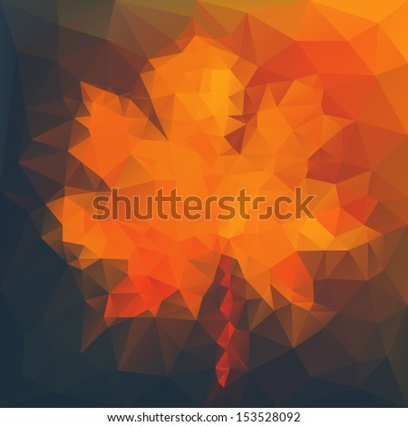 Abstract autumn illustration with maple leaf - stock vector