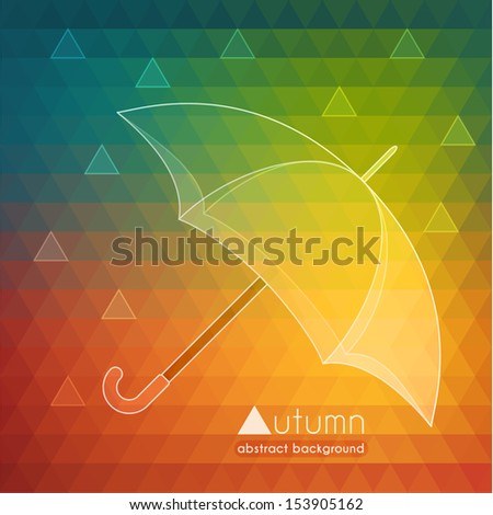 Abstract autumn illustration with umbrella and raindrops - eps10 - stock vector