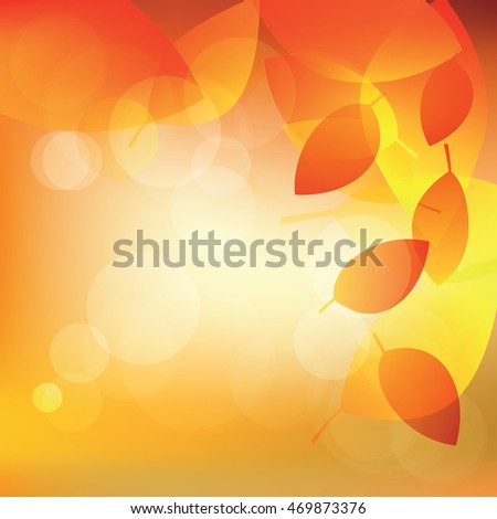 Abstract autumn sunny background with lights and leaves, vector illustration