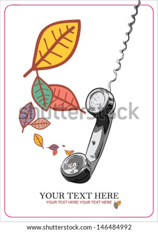 Abstract autumnal vector illustration with telefonny tube and leafs. - stock vector