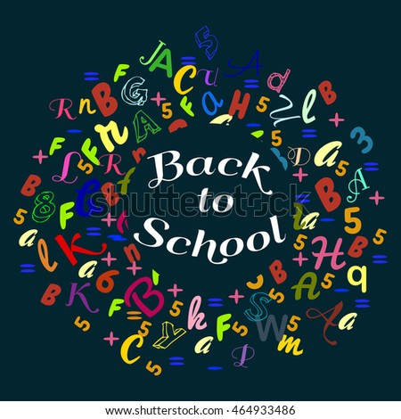 Abstract back to school background with colorful rainbow letters dor card and banner