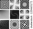 Abstract backdrops set. Rotation, spiral and radial motion illusion. Vector art. - stock vector