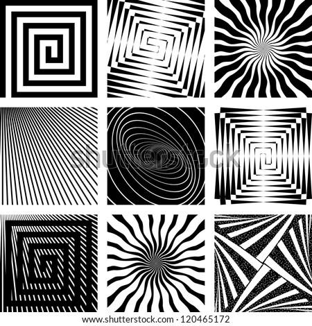 Abstract backdrops set. Rotation, spiral and radial motion illusion. Vector art. - stock vector