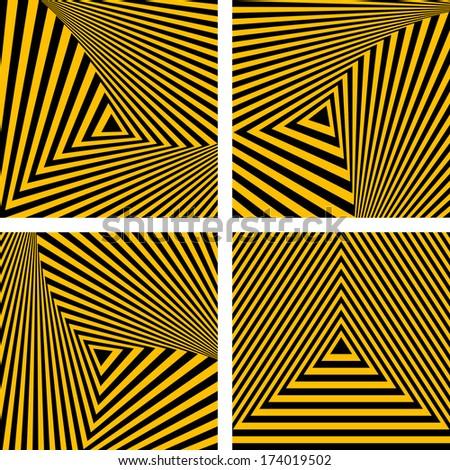 Abstract backdrops set. Striped triangles textures. Vector art. - stock vector