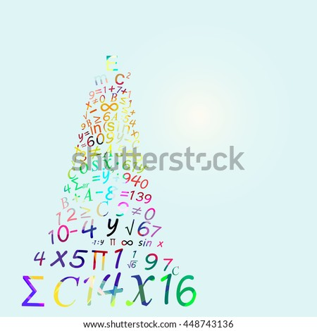 Abstract background, abstract tower of babel of digits and numbers, math background