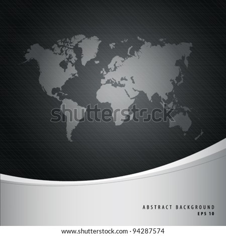 Abstract background and world map, vector illustration - stock vector