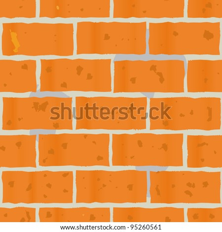 Abstract background as wall of red bricks for your design. Seamless pattern. Vector illustration.