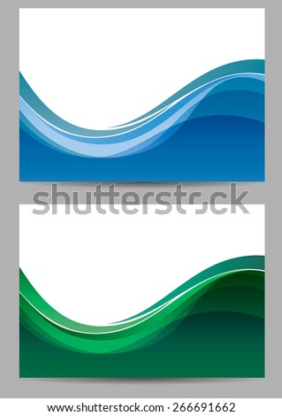 Abstract background. Blue and green waves. vector - stock vector