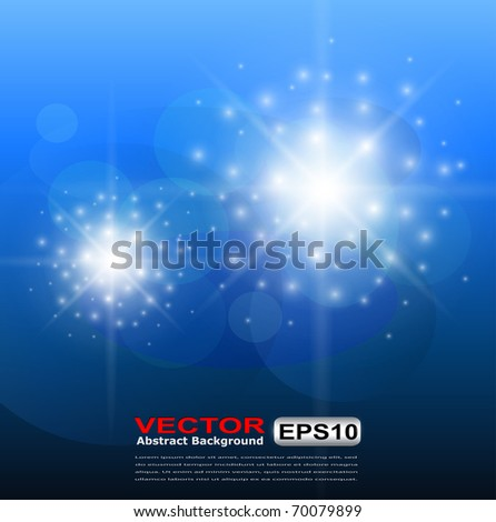 Abstract background blue glittering star of light, vector. - stock vector
